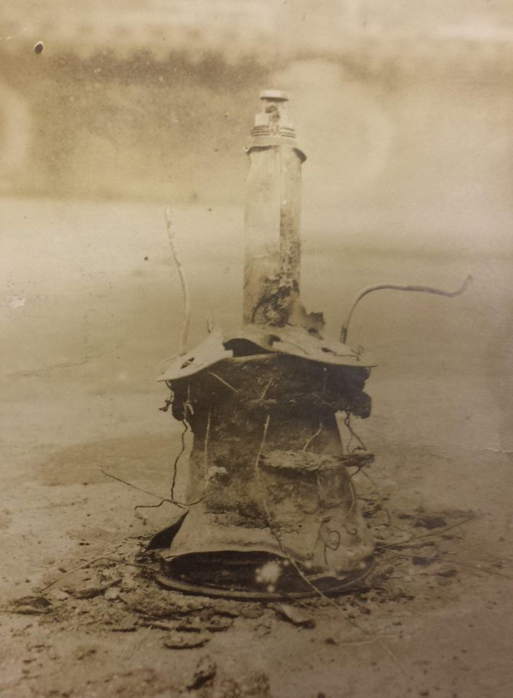WWI; Unexploded bomb that fell on the quadrangle of the Edinburgh Infirmary, dropped during a Zeppelin raid.