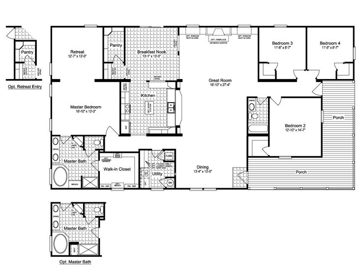 17 best images about floor plans manufactured on pinterest Rectangular house plans wrap around porch