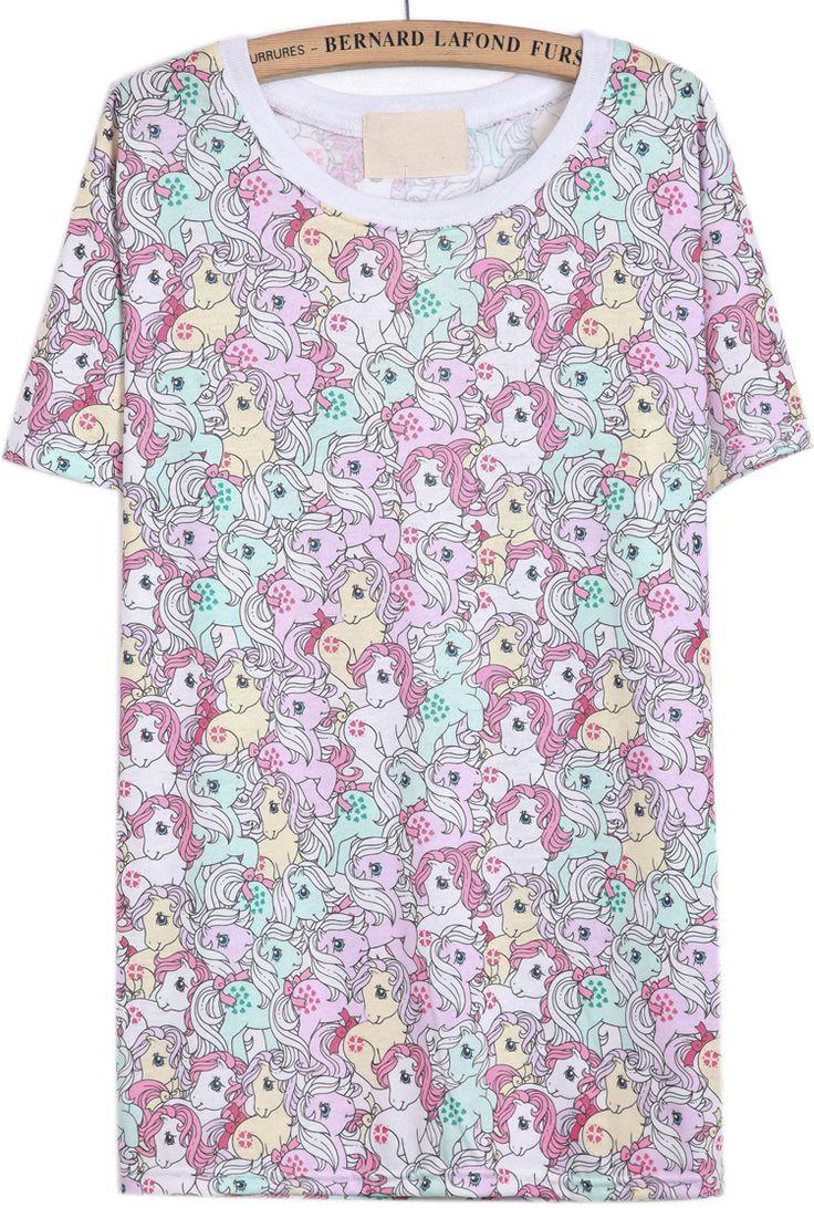 Pink+Short+Sleeve+Horses+Print+T-Shirt+GBP£12.49
