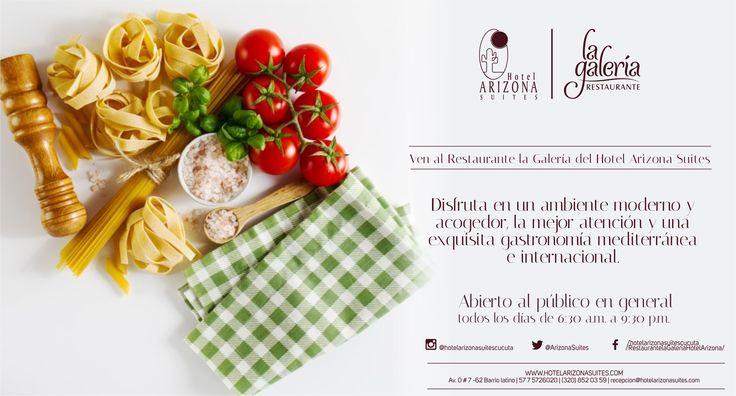 Vive la mejor experiencia gastronómica en el Restaurante la Galería disfruta de la mejor cocina mediterránea e internacional y una excelente atención. Av 0 # 7 - 62 barrio latino #Cucuta #Cocinamediterranea #HotelesCucuta #RestaurantesCucuta #Colombia