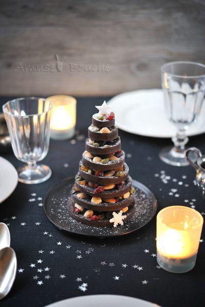 Voici un petit sapin réalisé en chocolat et fruits secs, parfait pour un centre de table ou pour faire un cadeau gourmand pour Noël.