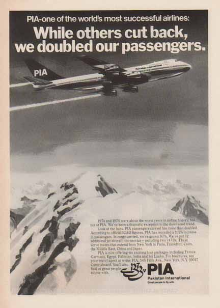 PIA Pakistan International Airlines 1977 Ad - Worlds Most Successful Airlines.  Shown is a PIA plane flying across snow covered mountains.