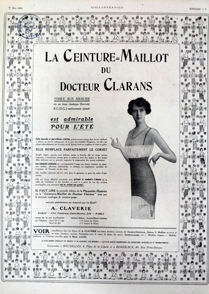 Lingerie poster vintage advertising, La Ceinture Maillot de Docteur Clarans French underwear corset, old magazine ad, retro poster from 1924 by OldMag on Etsy