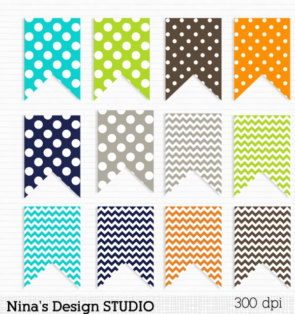 Orange, Blue, Gray and Green Flags-tags - Luvly Marketplace | Premium Design Resources #bunting #clipart #graphics #flags