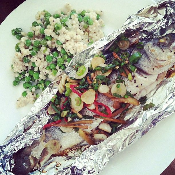 Chilli and lemongrass marinated seabass with pea and lemon cous cous