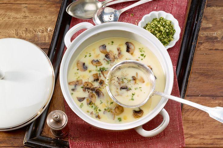 Diese fein pürierte Suppe kann die Einlage aus Pilzen und Gremolata gut vertragen – wobei letztere mit der Zitrone noch einen Hauch Frische mitbringt.