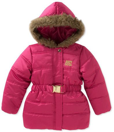 Juicy Couture's Pink Puffer jacket features an attached faux fur trim hood with a front snap button and zip closure.  This jacket has long sleeves with an elasticized waist with metal hardware detail.  The shell of the this coat is 100% polyester with a quilted design.