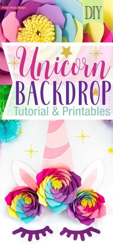 Diy Unicorn Backdrop Decorations W Printables Press Print Party