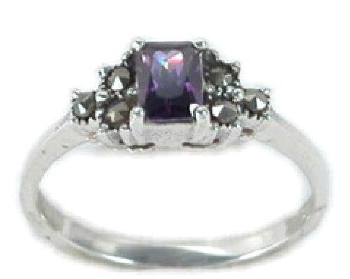 Emerald Cut Marcasite Ring Sterling Silver Best Jewelry Selectable Amethyst