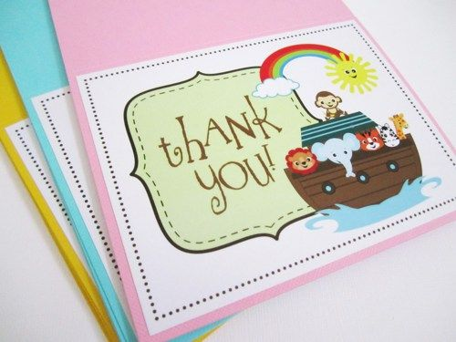 Planning for a Noah's Ark themed party? This is a set of 4 cute Noah's Ark Thank You Cards, blank inside for your personal message. You choose your color! Noah's Ark is a popular party theme for...@ artfire