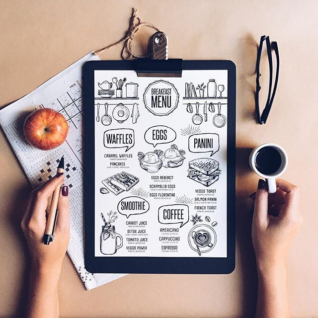 Breakfast menu template. Creative and modern food menu templates for your restaurant business.  More #printable #menu for your #brand you can download here ➝ https://creativemarket.com/BarcelonaDesignShop?u=BarcelonaDesignShop