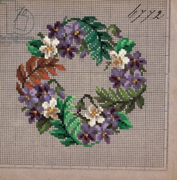 Crown of violets and fern embroidery design, 19th century