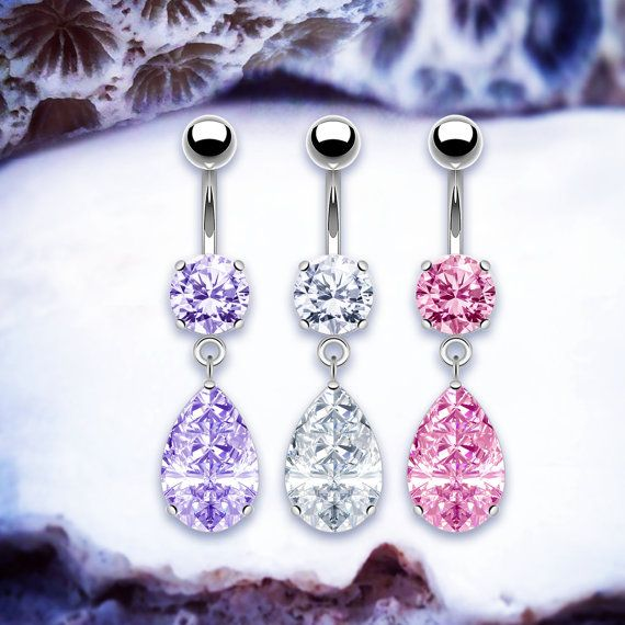 Victoria Diamond Belly Bar | Dangle Belly Button Rings Prong Navel Piercing Silver Belly Button Ring Crystal Navel Ring Pretty Belly Bars Get fashion body jewellery from www.throwbackannie.com - 10% off with code: PINTEREST ! Stunning jewelled navel basin three pretty colours. Purple navel rings, pink body piercings and clear crystal belly button rings! Be a beach babe in a navel piercing this summer. Festival fashion. Get the Vanessa Ann Hudgens , Heidi Pratt , Lindsay Lohan , Beyonce look