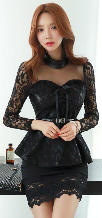 Shirred Black Lace Hem H-Line Skirt