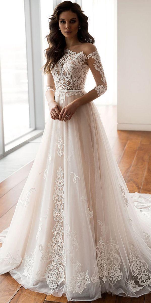Dazzling Tulle One Shoulder Neckline A Line Wedding Dresses With Applique Lace …