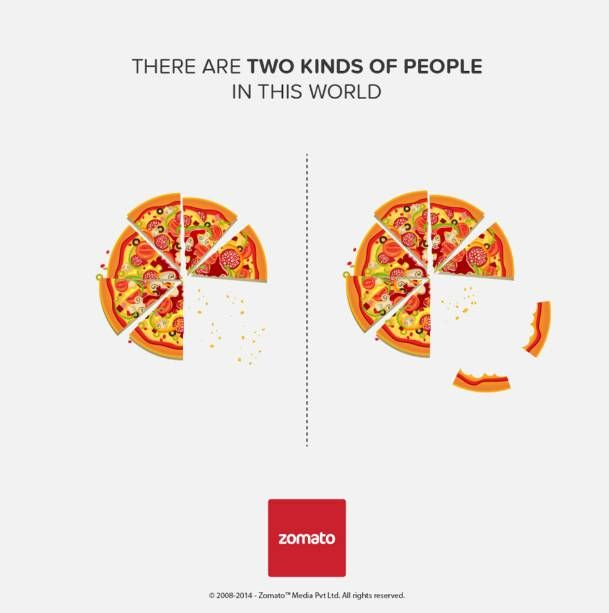two kinds of people in this world - ad by Zomato - eating pizza