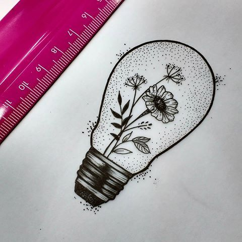 Resultado de imagem para lampada com flor dentro tatuagem