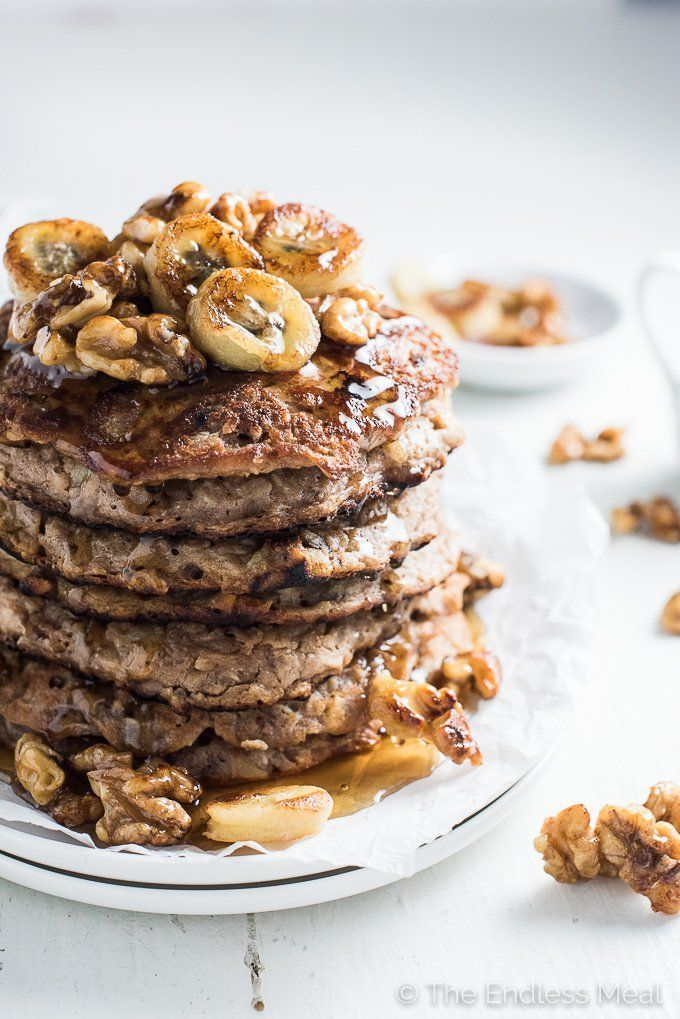 These delicious Banana Walnut Protein Pancakes are our go to Sunday morning breakfast. They're packed full of protein (but no protein powder!) and are made without any refined sugar or grains. You will LOVE them! | http://theendlessmeal.com