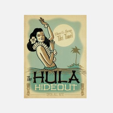 Hula Hide-Out Ad Print by Joel Anderson (Anderson Design Group)
