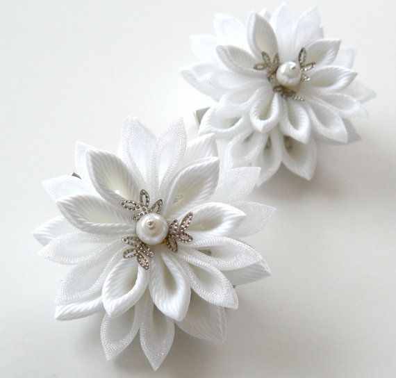 White Kanzashi  Fabric Flowers Set of 2 hair clips by JuLVa, $13.50