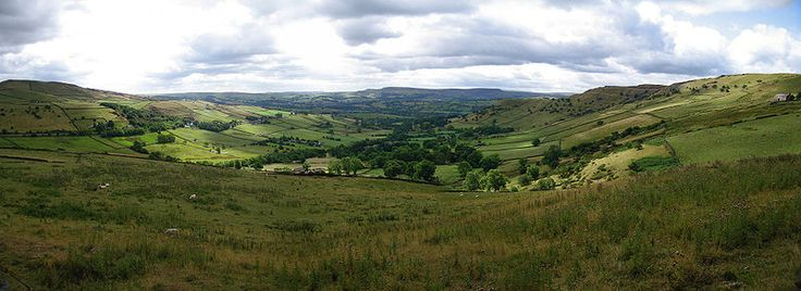 High Peak panorama between Hayfield and Chinley in the Peak District of northern England