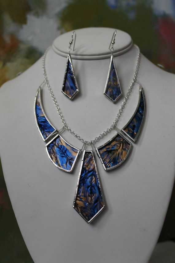Copper and Royal Blue Glass Matching Necklace/Earring Set
