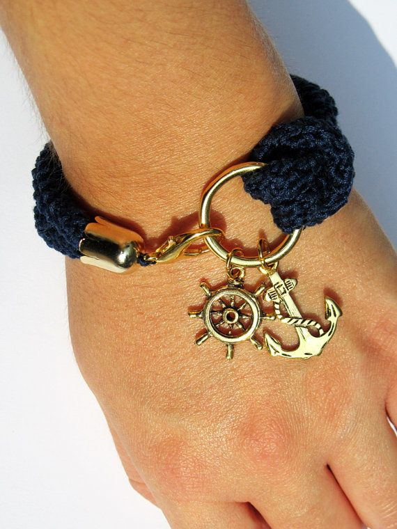 Nautical bracelet navy blue crochet rudder and by petiterobelenoir, $28.00