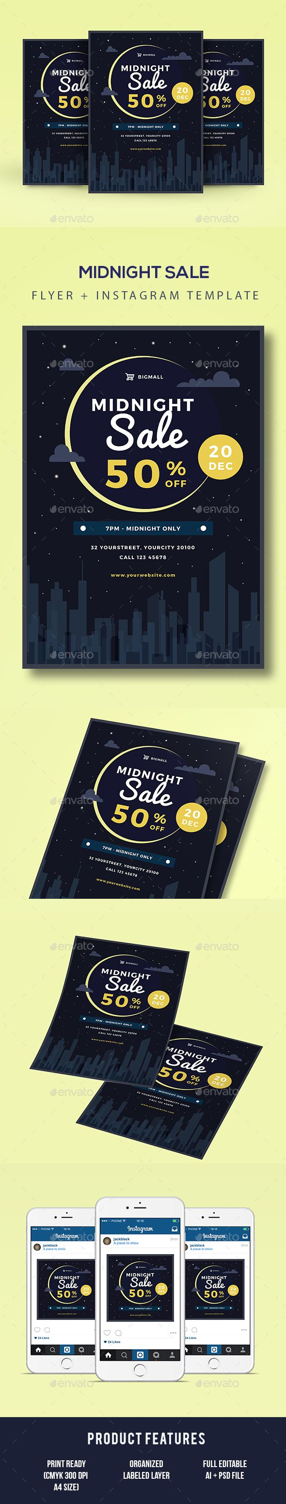 Midnight Sale Flyer Template PSD, AI Illustrator