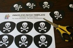 Pirate eye patch template to stick on the loot bags for favors.