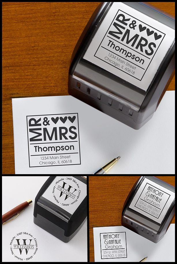 LOVE THESE! These Self-Inking Return Address Stamps are a great way to save a lot of time and money when you're sending out Wedding Invites or Thank You Notes! They also make a great Wedding Gift! They even come in 5 colors - this site has a TON of other designs too! #Wedding