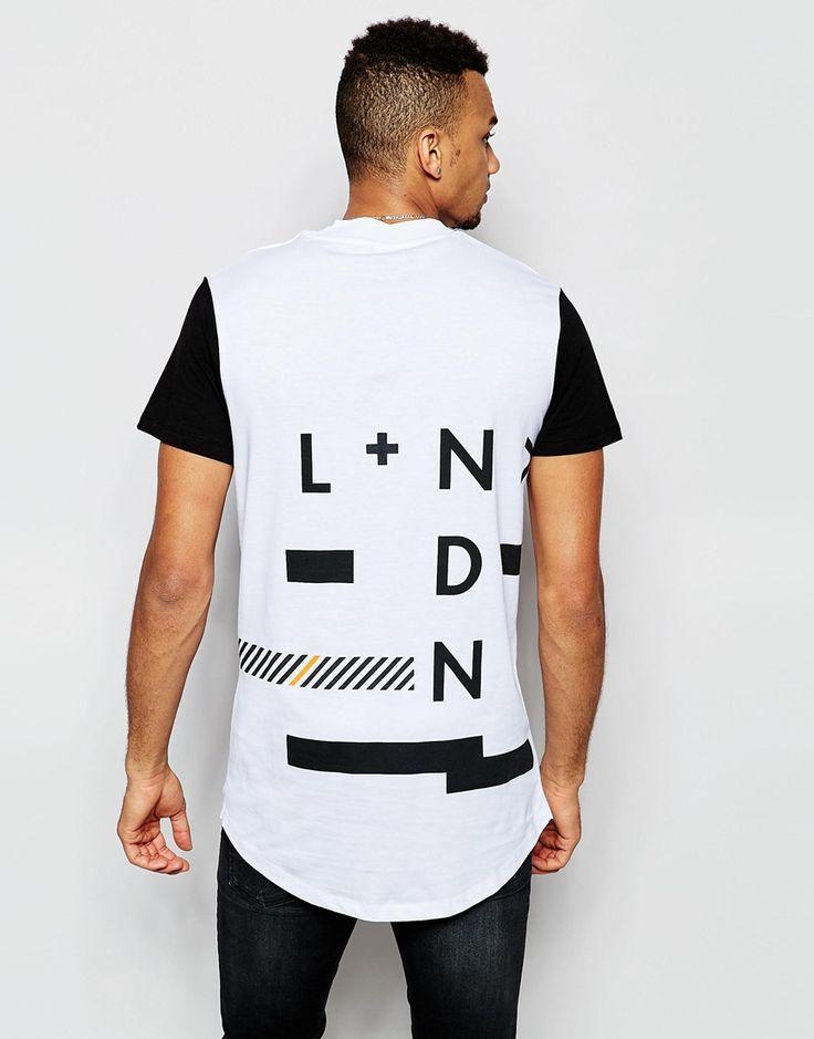 Imagen 2 de Camiseta con estampado trasero y mangas en contraste de Jack & Jones