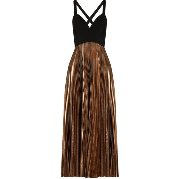 A.L.C. Alba V-neck pleated dress ($895) ❤ liked on Polyvore featuring dresses, rose gold, brown cocktail dress, fitted dresses, brown fitted dress, strap dress and pleated dress