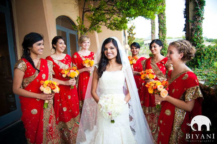 I love the combination of the traditional wedding gown and the bridesmaids in saris! What a lovely way to combine the two cultures!