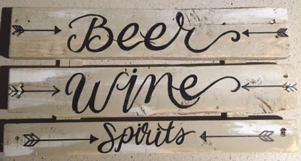 """Rustic Wooden hand painted """"Beer, Wine, Spirits"""" directional sign"""