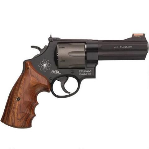 "S&W Model 329PD Revolver .44 Magnum 4"" Barrel 6 Round Adjustable Rear Sight Fiber Optic Front Sight Scandium Frame Wood Grips Black Finish 163414 - 022188634143"