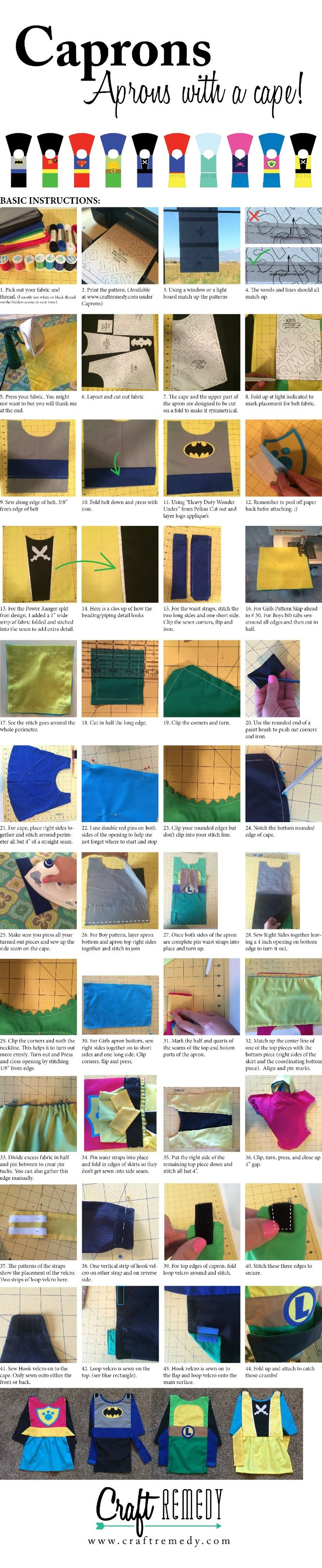 Capron- Apron with a Cape! Perfect for dress up, help in the kitchen or as a Halloween costume! -Craft Remedy