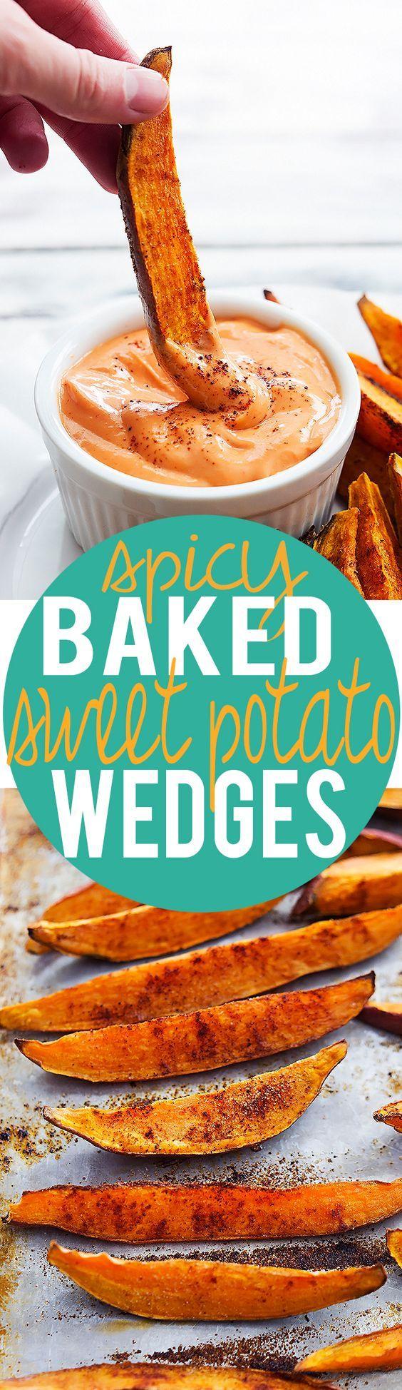 Spicy Baked Sweet Potato Wedges | Creme de la Crumb