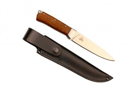 """LIS KIZLYAR KNIFE WALNUT HANDLE. Lis"""" is a Russian name of the male fox. The glass-polished blade is decorated with a fox muzzle. The grinds of blade come from its butt. The section is a flat wedge. The thickness of the blade at the cutting edge is 1/32 in. #knife #Islamic #Turkey #Armenia #Persia #India #blade #kitchen #Kizlyar #Lis #walnut #rubber-plastic #leather #sheath #belt #weapons #butt #cutting #sharpening #anti-friction #pommel #lanyard #Scandinavian"""