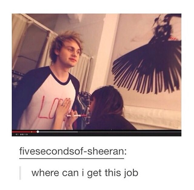 """What do you want a career in?"" ""DRAWING ON MICHAEL CLIFFORD'S SHIRT."""