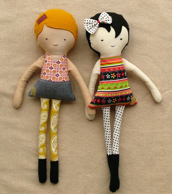 Handmade Fabric Dolls...Best Friends by rovingovine on Etsy