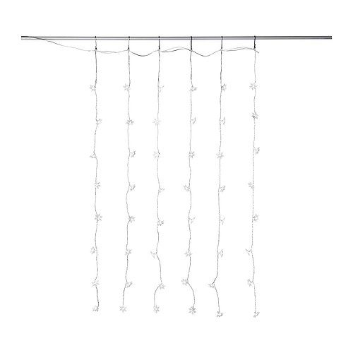 STRÅLA Hanging lights/drape 48 snowflakes IKEA Uses LEDs, which consumes up to 80% less energy and last 20 times longer than incandescent bulbs.
