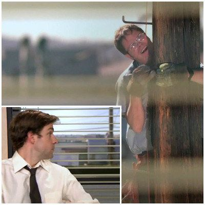 When Jim attaches a 500-foot wire from the back of Dwight's computer to a telephone pole. Because Jim actual made the effort to climb up a giant telephone pole just to fuck with Dwight.