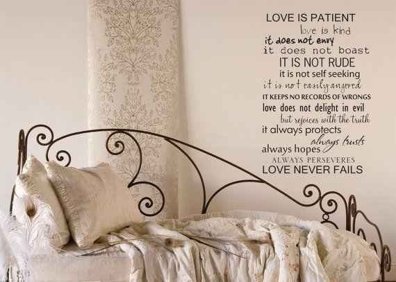 Love is patient love never fails wall  decal by LittleCreekMarket, $32.00