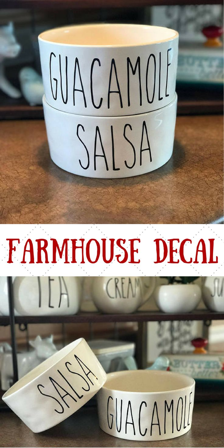 This is perfect! I can have Rae Dunn inspired Guacamole and Salsa bowls with these decals. #raedunn #ad #farmhouse #kitchendecor
