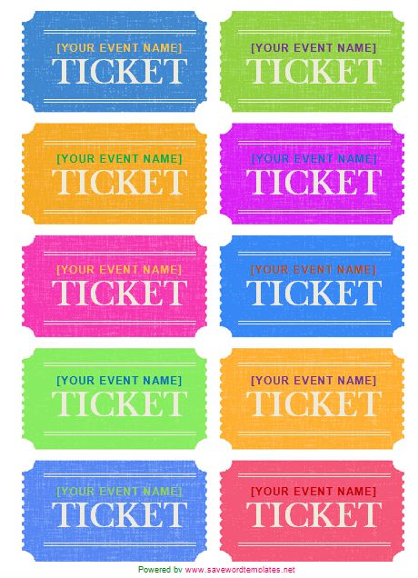 ticket label template  avery