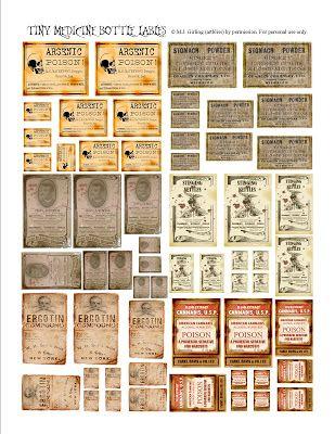 ... Bottle Labl, Vintage Labels, Halloween Labels, Altered Books, Tiny