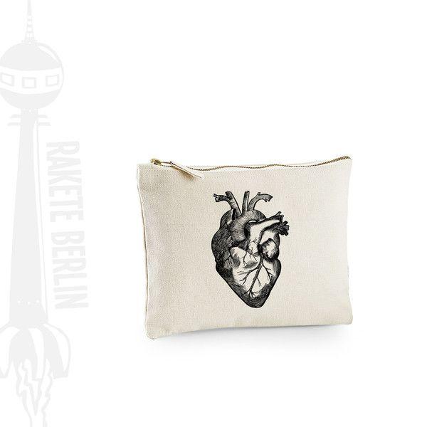 Universaltäschchen - Täschchen Mäppchen medium 'anatomisches Herz' - ein Designerstück von RaketeBerlin bei DaWanda