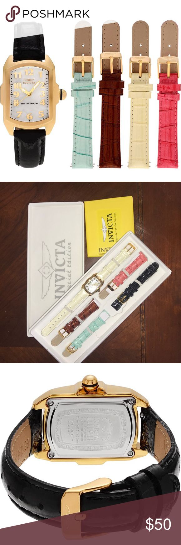 Brand new watch set Brand stinking new Invicta special edition watch set!  Gold face watch with with FIVE different colored watch bands: White/cream Brown Pink Turquoise & Black  Never worn! Perfect holiday gift 🎁 Invicta Accessories Watches