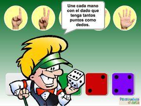 """ABN – CONTAR – EQUIVALENCIAS ENTRE CONJUNTOS – Une cada mano con el dado que tenga TANTOS puntos COMO dedos (1-5) – En este juego se trabaja el concepto """"tantos como"""". El jugador/a debe identificar los dedos de cada mano y su correspondencia con los puntos del dado."""