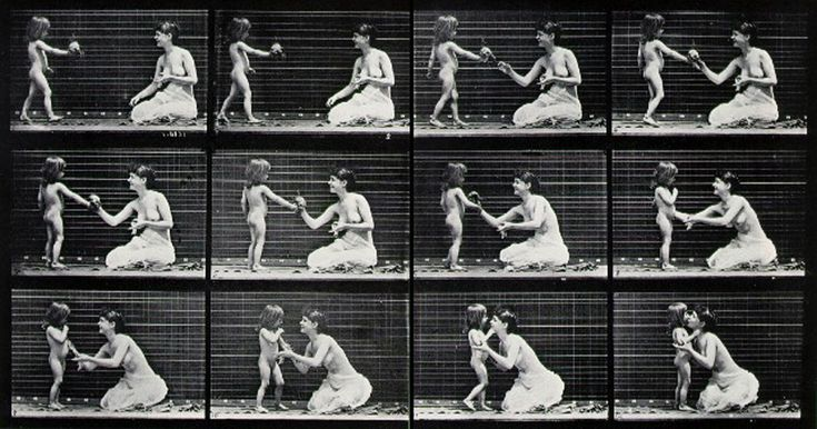 Females (semi-nude) & Children, Child Bringing a Bouquet to a Woman, Humans, Animal Locomotion, Plate No. 465, 1884-5.    Eadweard Muybridge